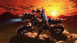 BotW Link Riding Master Cycle Zero Artwork.png