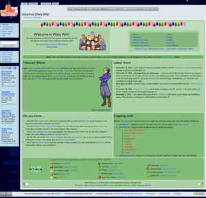The current layout of Wars Wiki