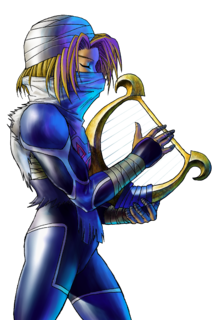 OoT Sheik with Harp Artwork.png