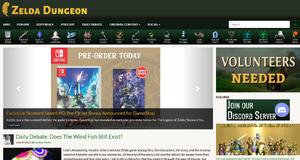 Screenshot of the Zelda Dungeon homepage