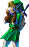 Adult Link playing the eponymous Ocarina of Time