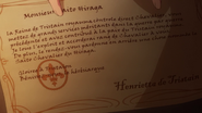 Saito's letter to be a knight