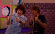 Logan and Chase mocking thumbs up