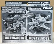 Unenlagia and Mosasledge Metalsilver version box front