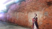 Ladrillo rojo cerca del antiguo banco Koga