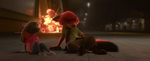 Last remaining part of Doug's lab explodes behind Judy and Nick