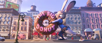 Judy saving Fru Fru from being crushed under The Big Donut sign
